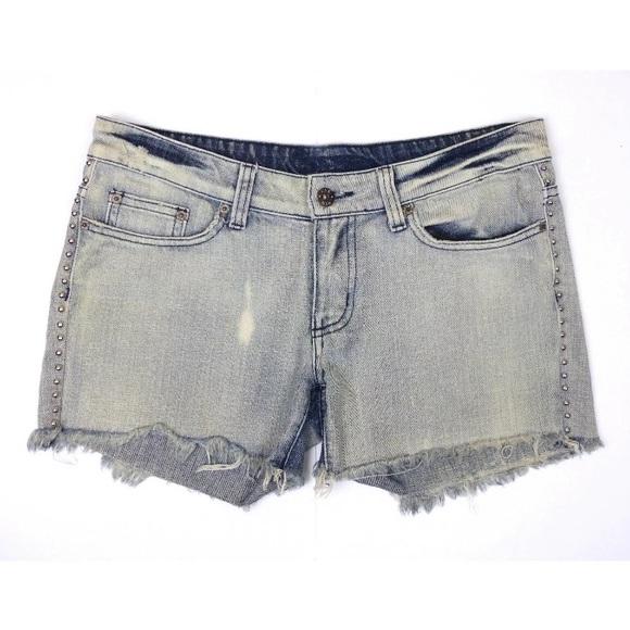 Carmar Pants - Carmar Studded Bleached Blue Cut Off Frayed Shorts
